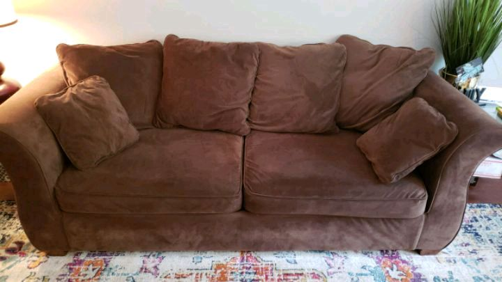 used chocolate microsuede sofa loveseat and ottoman for sale in rh gb letgo com Blue Sofa and Loveseat Sets Blue Sofa and Loveseat Microfiber