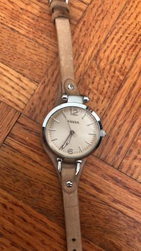round silver analog watch with brown leather strap Toronto, M2M 4B1
