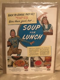 1950 Vintage Print Ad CAMPBELL'S Soup For Lunch Football Illustration Fall River, 02721