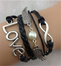 New Infinity Double wing LOVE Leather Charm Bracelet Silver plated Calgary