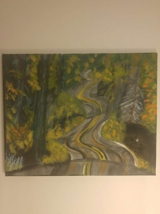 Winding road painting