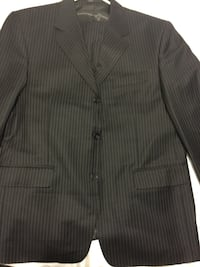 grey pinstriped notched lapel suit jacket