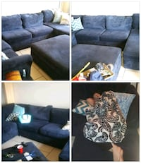 blue suede sectional couch collage Glendale, 85301