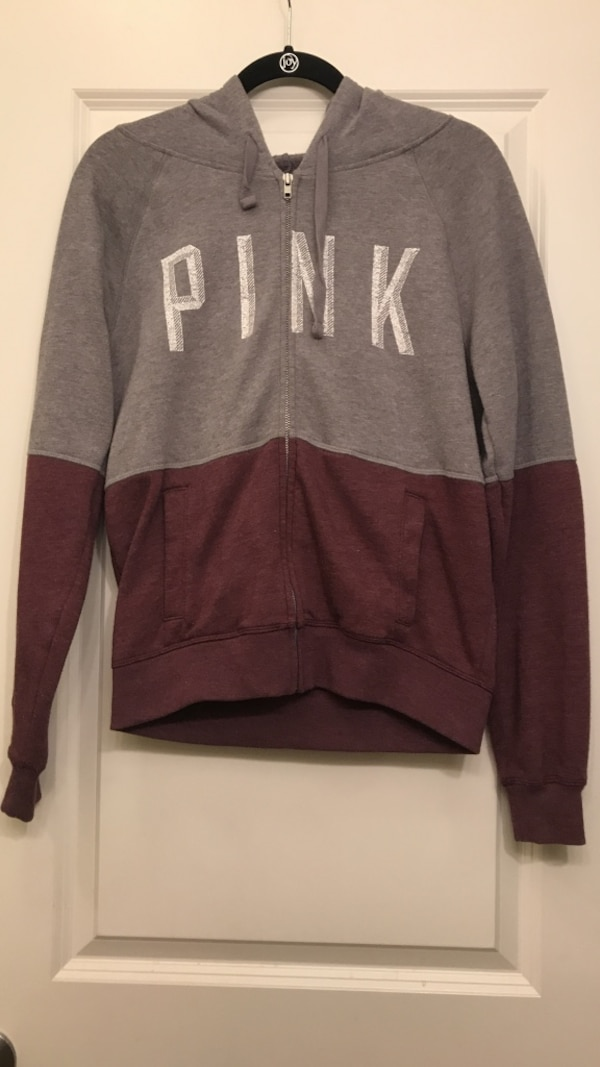 edce331e3eb93 gray and maroon Victoria's Secret Pink zip-up hoodie