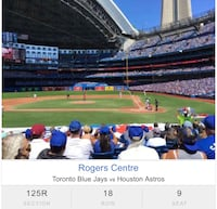 TODAYS GAME! 4 Blue Jays tickets Section 125 Brampton