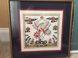 Asian cross stitch of 2 doves