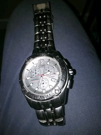 round silver chronograph watch with link bracelet Airdrie, T4A 0S4