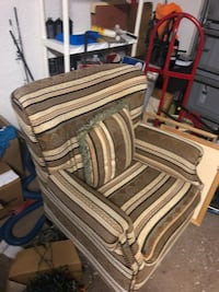 Brown wooden framed white and gray striped padded armchair Sterling, 20165