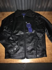 Black leather full zip jacket
