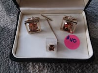 Beautiful Vintage Amber Cufflinks and Tie Clasp  Wyandotte