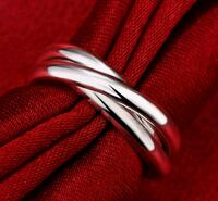 $8 NEW sz 7 or 8 silver plated intertwining rings  Ballwin, 63021