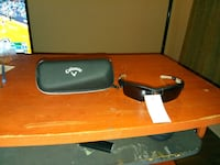 black Callaway sport-style sunglasses with black zip pouch
