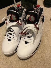 white-and-black Air Jordan 8 shoes Surrey, V3T 1W6