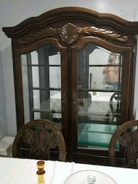 brown wooden framed glass display cabinet Roseville, 48066