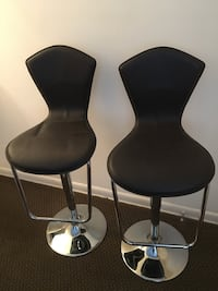 two black leather padded bar stools New York, 11223