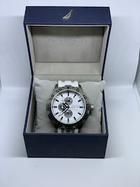 Nautica Watch - Round silver chronograph watch with black leather strap Toronto, M2H 2R4