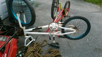 white and red BMX bike