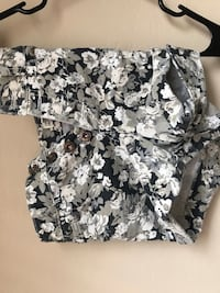 White and black floral print high waisted shorts San Jose, 95110