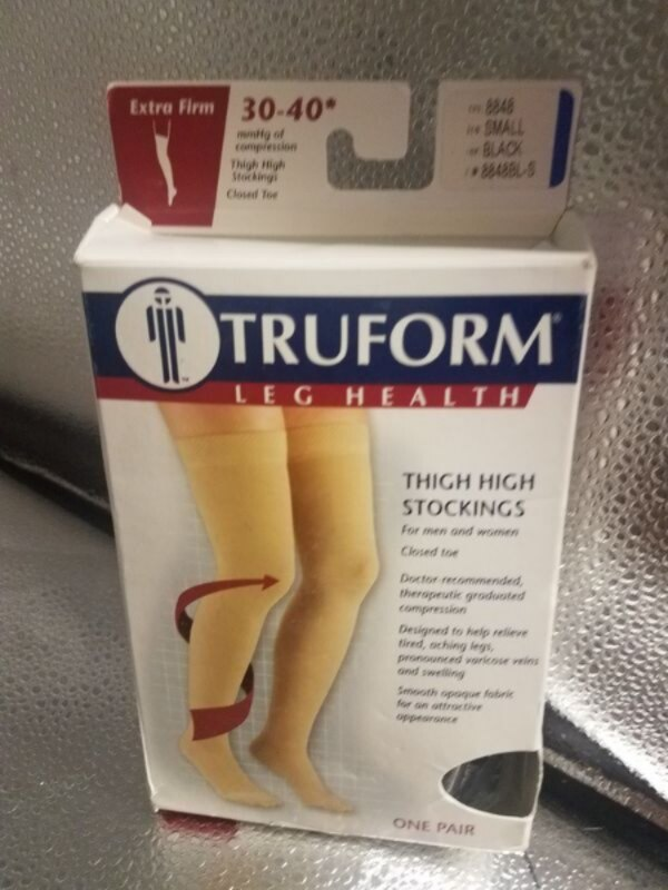 fe7740f323a Truform Thigh High Stockings Black Small Extra Firm
