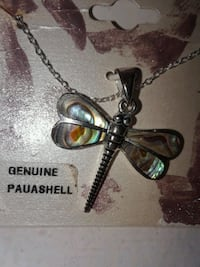 Sterling Silver Dragonfly Necklace with Genuine Pa