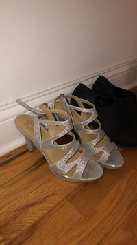 pair of gray open toe ankle strap heels Chicago, 60657
