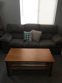 Gray couch + coffee table