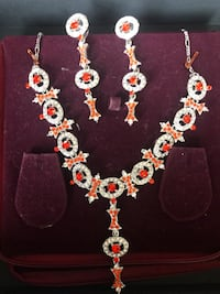 Necklace and Dangling ear rings set ,Orange and slight Red Tone stones with sliver base tone  Bristow, 20136