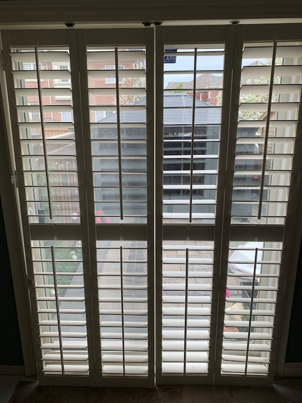 Wood California shutters for patio doors
