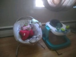 Baby walker and bouncer fairly new