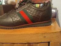 brown red green leather sneakers size 9 1/2