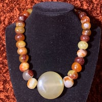 Natural Red Hematoid Quartz Crystal Beaded Necklace Chantilly, 20151