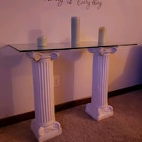 Entryway glass table with 2 white column Lawrenceville, 30044