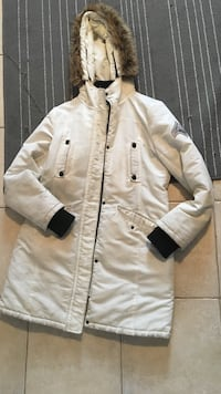 White button-down parka jacket