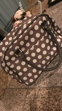 Women's grey and white polka dotted print large handbag