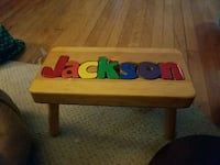 """Jackson"" name puzzle stool. Hand made Winchester, 22601"