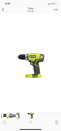 """Ryobi 18 Volt 1/2"""" Inch Cordless Drill With Led Light - Tool Only"""