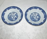 """2 American Atelier Blue Willow Soup Bowls 8"""" rim P Mississauga"""