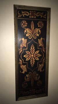 "Wood wall decor colour black & antique gold size 40""long 15"" wide Oakville, L6K 1Y8"