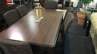 rectangular brown wooden table with six chairs dining set Rockville, 20852