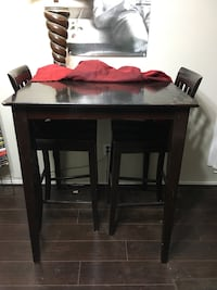 Tall Dark Stained Wooden Bar Hightop w/ 2 Matching Barstools  Katy, 77449