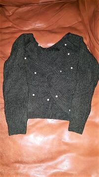Green Reversibe Twist Sweater with Pearl Detail