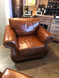 brown leather sofa chair with ottoman El Portal, 33138