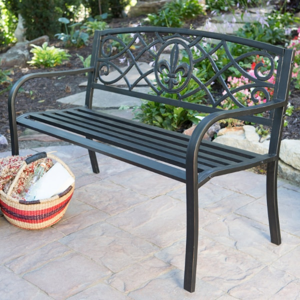 Amazing Curved Metal Garden Bench In Antique Black Steel For Outdoor Seating On Porch Patio Or Deck Spiritservingveterans Wood Chair Design Ideas Spiritservingveteransorg