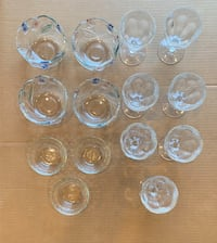 Clear glass cup and saucer lot