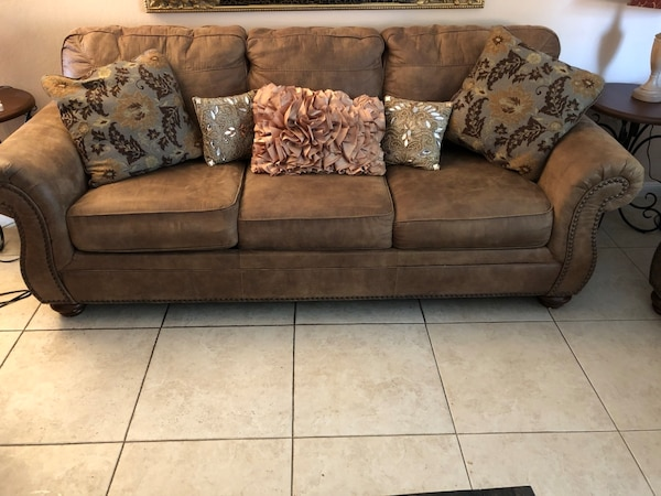 2 year old, Brown fabric 3-seat sofa sleeper with matching set 2-seat  loveseat