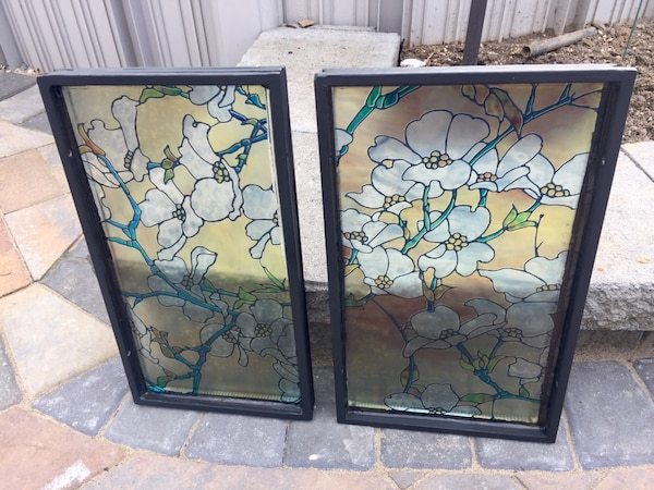 Two Faux Stained Gl Window Inserts