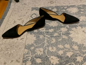 JCrew /shoes/ Suede d'orsay black flats 5½