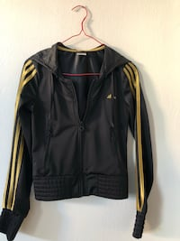 Black and yellow adidas zip-up hoodie 6505 km