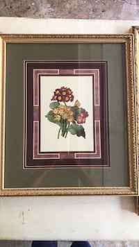 brown wooden framed painting of red and white flowers Snellville, 30039