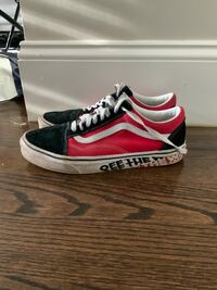 Old Skool Red and Black Off The Wall Vans